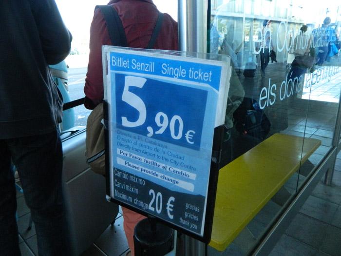 Aerobus Barcelona - cena