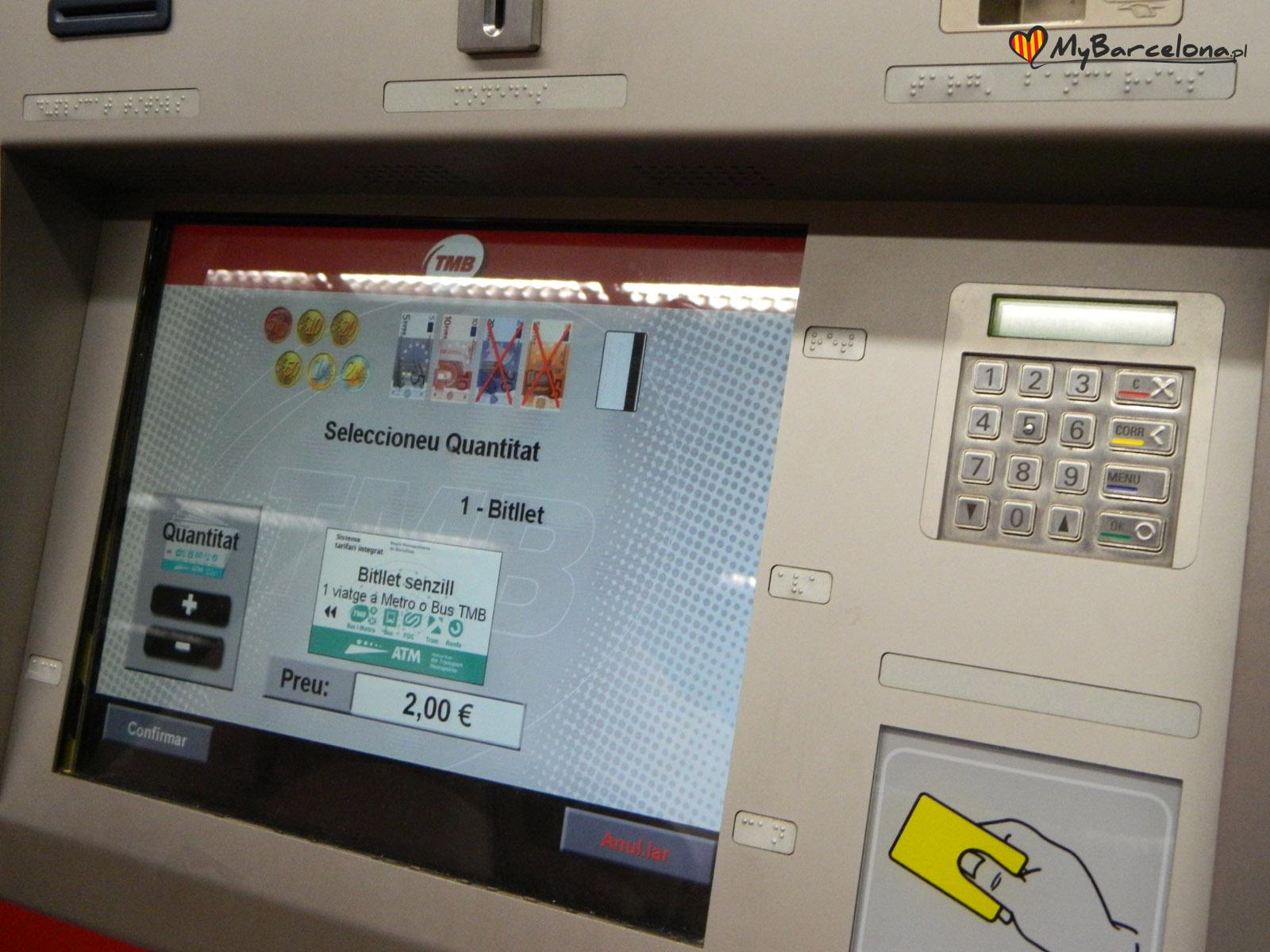 Automat z biletami w Barcelonie