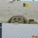 Rzeźby z piasku na plaży Barceloneta