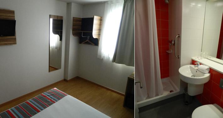 Pokój i łazienka w hotelu Travelodge Poblenou