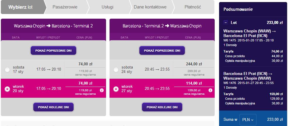 Loty Wizz Aira do Barcelony na styczeń 2015