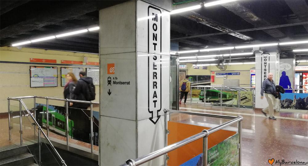 Monserrat - oznaczenie drogi na pociąg