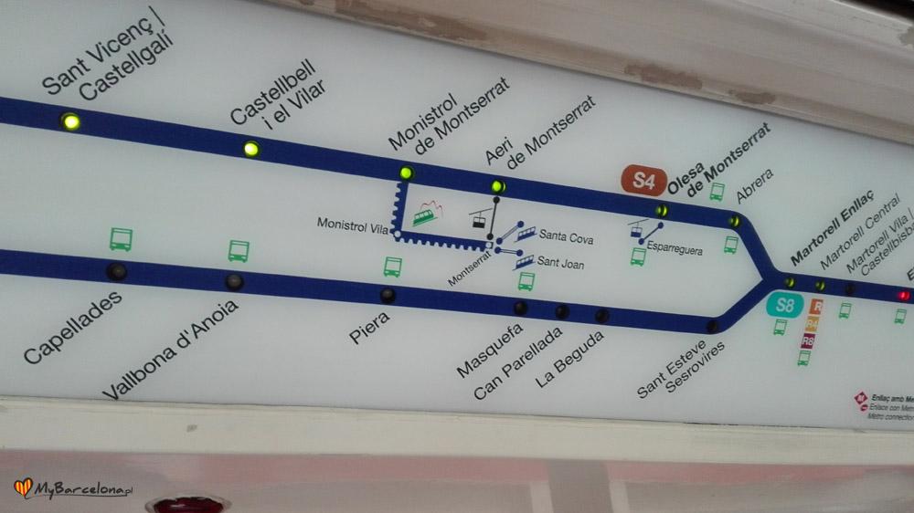 Pociąg do Montserrat - wyświetlacz